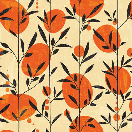 Seamless floral pattern in Japanese style. Vector illustration