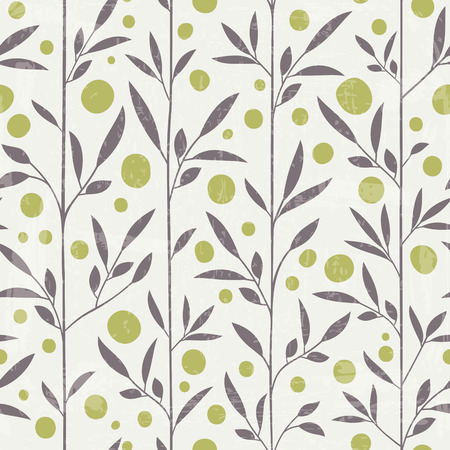 Elegant seamless pattern with leaves in retro style