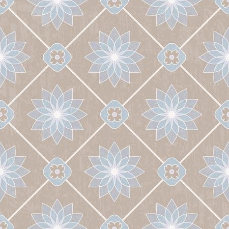 Seamless ornamental pattern on textured background. Vector illustration