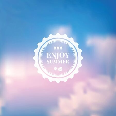 pink sky: Vector blurred background of blue sky and white clouds with pink glow