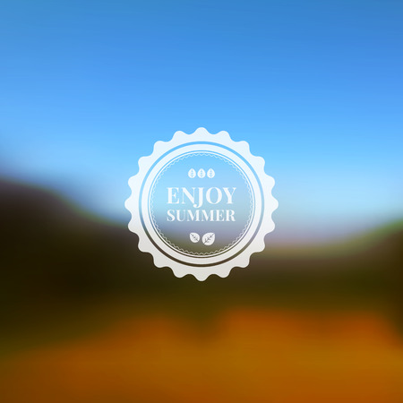 Vector blurred background of natural landscape. Sky trees and field. Typography badge Illustration