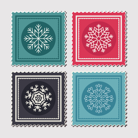 christmas postcard: Set of colourful Christmas postage stamps with snowflakes. Vector illustration