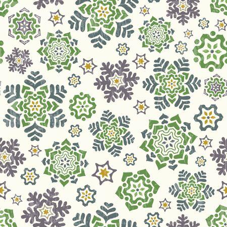 Snowflake seamless pattern. Retro winter background. Vector illustration