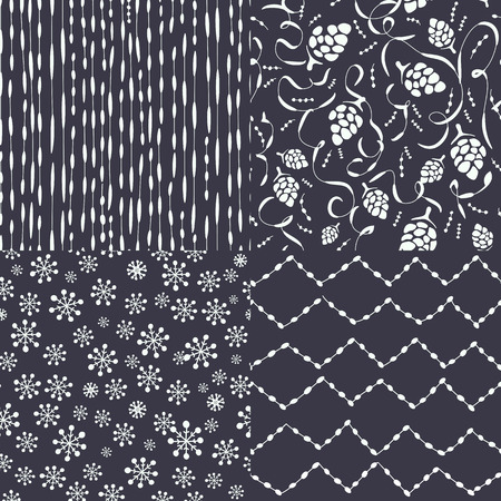 Set of abstract christmas patterns for backgrounds, textile design, wrapping paper Illustration