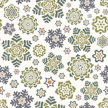 Christmas seamless vector pattern. Beautiful snowflakes in pastel colors on white background. Vector