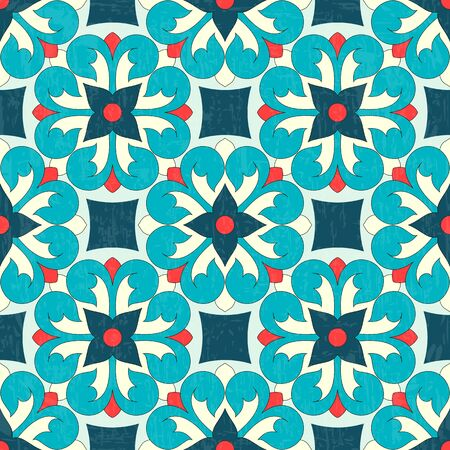 Vector seamless ornamental textured pattern. Colourful Moroccan Portuguese tiles.
