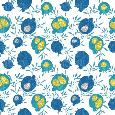 pomegranate juice: Seamless vector pomegranate pattern