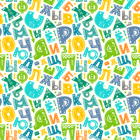 Seamless pattern with cyrillic russian alphabet funny letters. Vector colorful background for print, home decor, textile design, wrapping paper, wallpaper