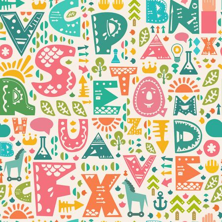 Retro cute seamless pattern with decorative alphabet letters and other design elements.