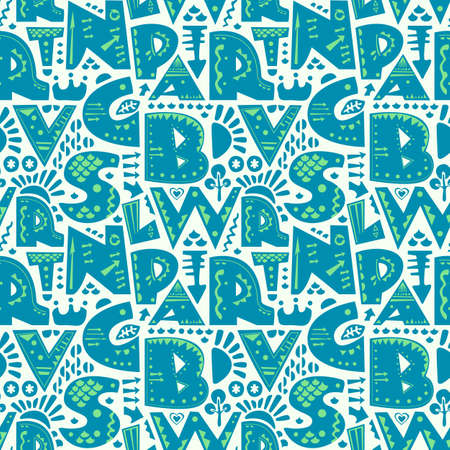 Cute seamless pattern with alphabet letters in blue and green on white background. Illustration