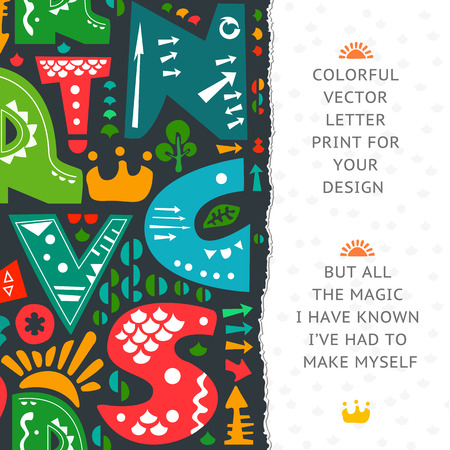 torn edges: Letter print design. Colorful letters on dark paper background. Paper with torn edges. Place for your text