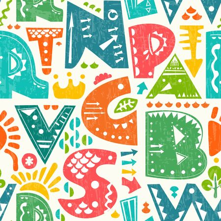 seamless pattern with cute colourful alphabet letters