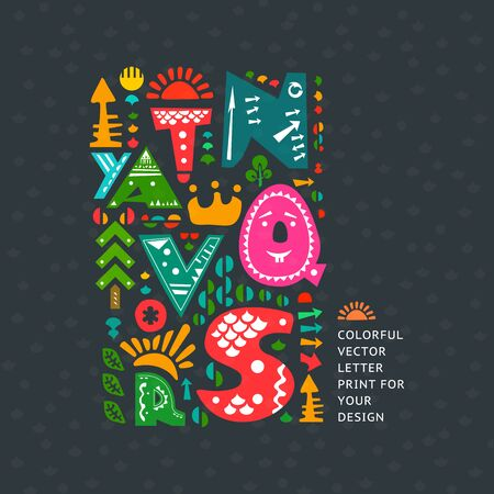 colourful print on dark background. Alphabet cute letters and other design elements in ethnic style Illustration