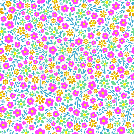 Elegant seamless floral pattern. pink and blue flowers on white background. Can be used as fabric design, wrapping paper, web background