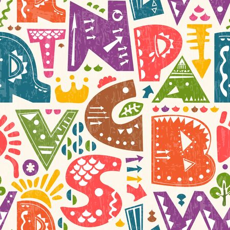 Vector seamless pattern with cute colourful alphabet letters Illustration