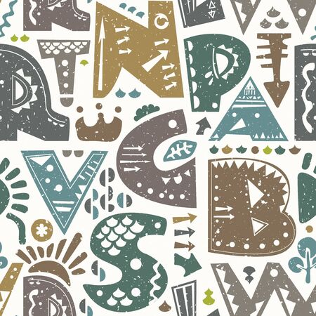 Retro seamless repeating pattern with alphabet letters and decorative shapes. Vector background