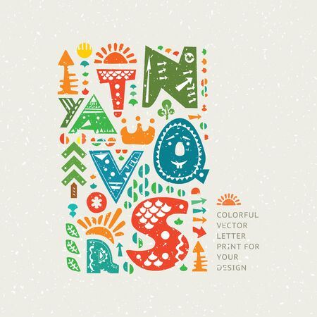 Vector colourful print on old paper background. Alphabet cute letters and other design elements in ethnic style Illustration
