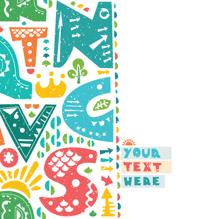 Letter print design. Colorful letters on paper background. Paper with torn edges. Place for your text Illustration