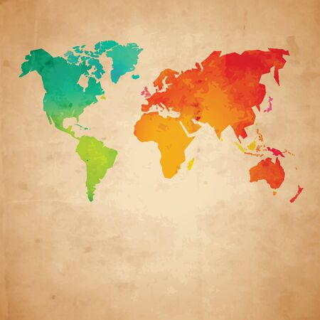 china watercolor paint: Colorful vector world map on aged paper texture