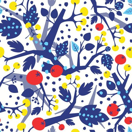 Colorful seamless pattern with tree branches and berries in Christmas colors. Can be used as wrapping paper, textile or wallpaper design Illustration