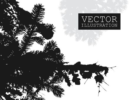 Spruce branch silhouette vector Illustration