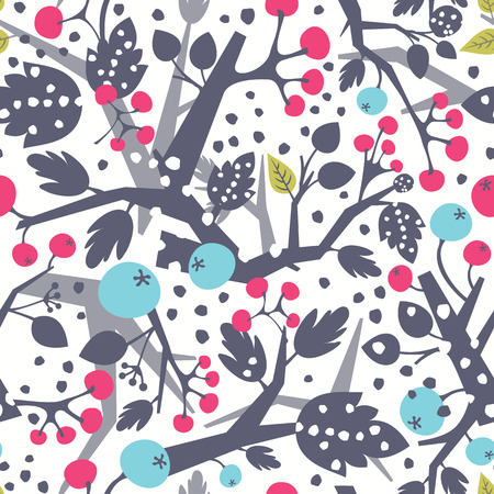 Elegance seamless pattern withtree branches and berries. Vector