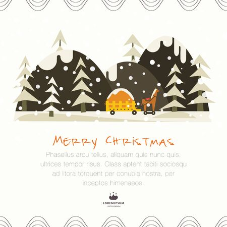 Cute Christmas greeting card. Toy truck with a horse on the road in the winter forest Illustration