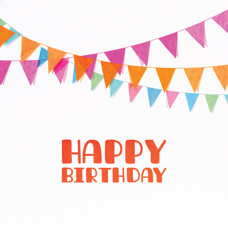 Happy birthday background. Isolated flag garland on white background