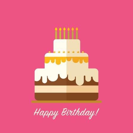 Happy birthday cake for greeting card design isolated in flat happy birthday cake for greeting card design isolated in flat style stock vector 68836627 m4hsunfo