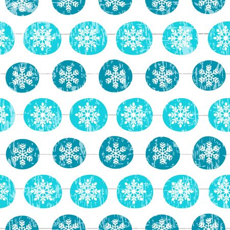 Snowball and snowflake seamless pattern. Vector holiday background Çizim