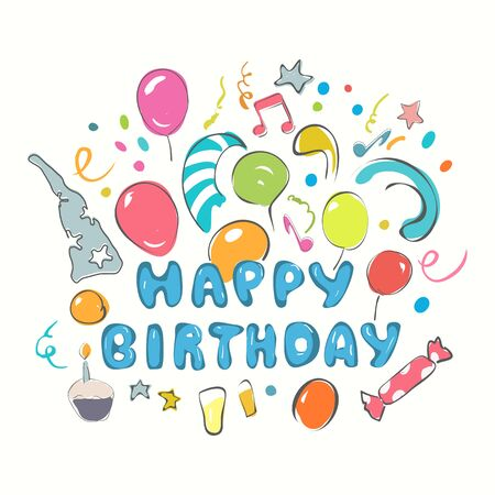 Happy Birthday greeting card. Hand drawn art with colorful balloons