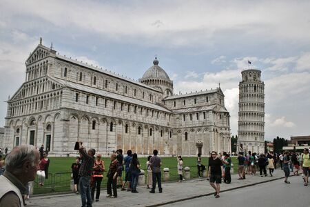 Leaning tower of pisa, baptistry and church Editorial