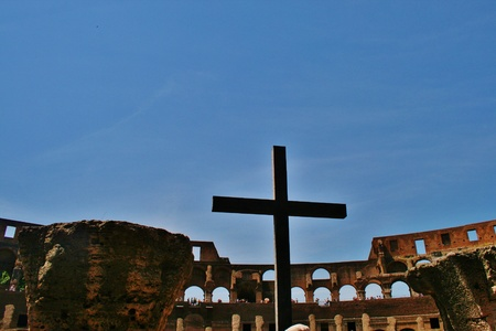 Christian cross at Amphitheatre, Colosseum Rome Editorial