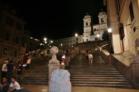spanish steps: Rome Spanish steps at night Editorial