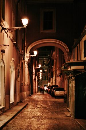 Rome dark deserted alley night with lamps Stock fotó - 21475610