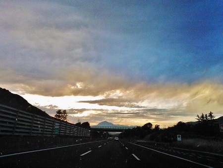 Italy sunset on highway