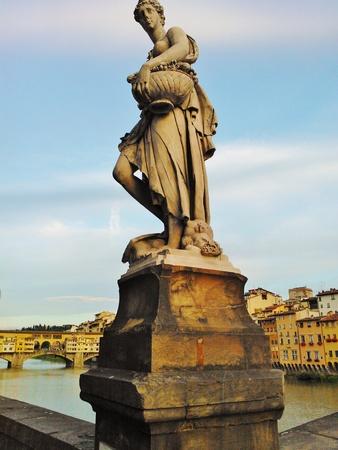 Florence river bridge sunset Editorial