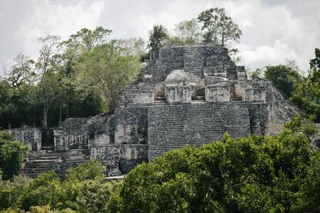 Calakmal のマヤ遺跡、ユカタン半島のジャングルで
