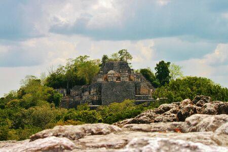 Calakmul Mayan ruins in jungle, Yucatan