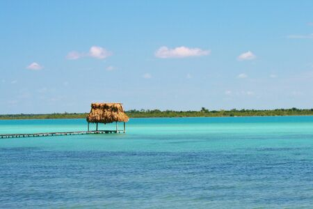 green sea: Beautiful green sea and thatched pier near Tulum Stock Photo
