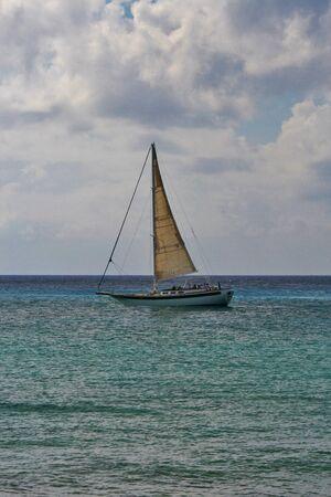 Single sailboat solitude and freedom