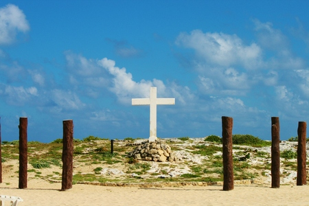 evangelism: Large cross on beach in Mexico