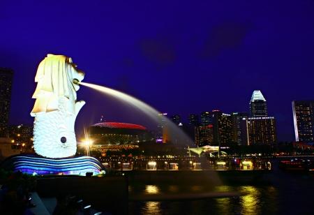 Merlion Statue Singapore Symbol, Cityscape night evening Singapore City