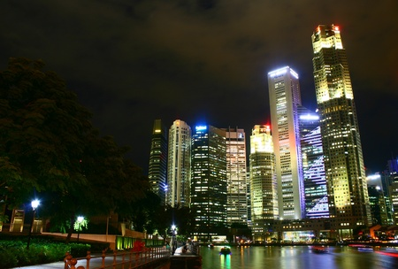buisness: Central Buisness District, Singapore night Cityscape Stock Photo