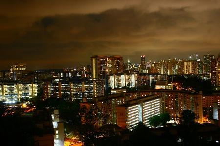 hdb: Singapore Public Housing, Urban Landscape night HDB flats