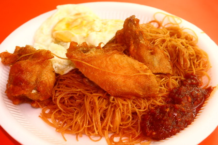 food photography: Singapore Food Photography Series, Breakfast Hawker Center, Bee Hoon Noodle and chicken Wing Stock Photo
