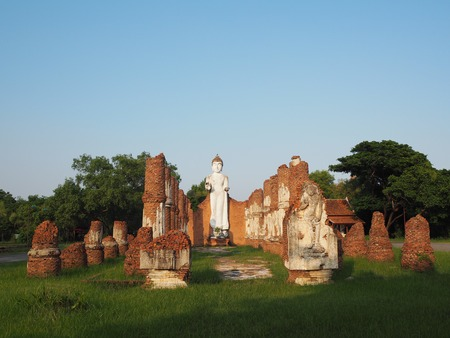 simulation: Buddha image is the majestic ruins of an ancient temple modeled on the ancient city simulation. Stock Photo
