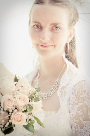 Portrait of pretty bride photo