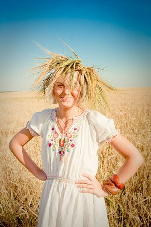 girl in field of wheat Stock Photo - 6128797