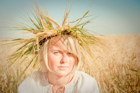 girl in field of wheat Stock Photo - 6128796